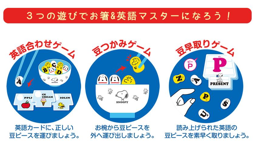 マナー豆 おはし de おべんきょう スヌーピー(ABC)説明3